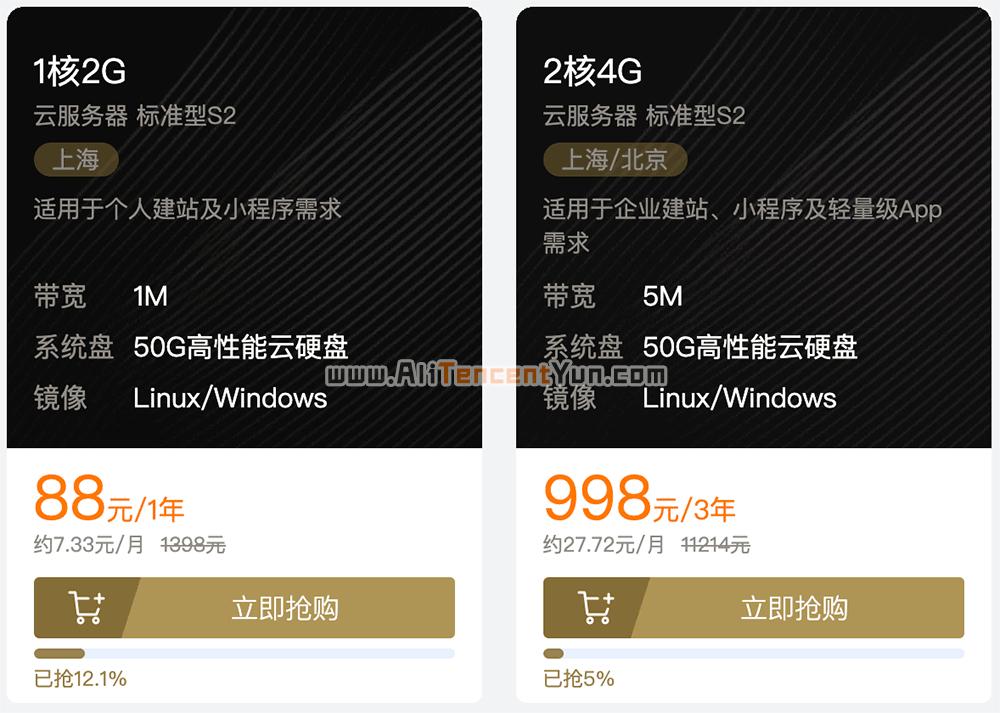 2019腾讯云双11服务器优惠88元一年可领9888元代金券